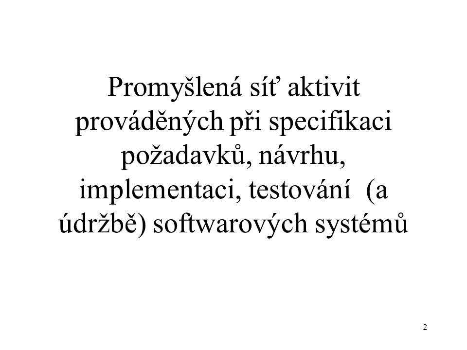 2 Promyšlená síť aktivit prováděných při specifikaci požadavků, návrhu, implementaci, testování (a údržbě) softwarových systémů