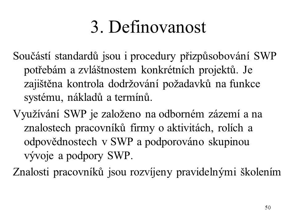50 3. Definovanost Součástí standardů jsou i procedury přizpůsobování SWP potřebám a zvláštnostem konkrétních projektů. Je zajištěna kontrola dodržová