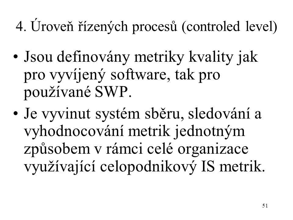 51 4. Úroveň řízených procesů (controled level) Jsou definovány metriky kvality jak pro vyvíjený software, tak pro používané SWP. Je vyvinut systém sb