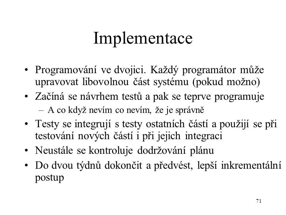 71 Implementace Programování ve dvojici. Každý programátor může upravovat libovolnou část systému (pokud možno) Začíná se návrhem testů a pak se teprv