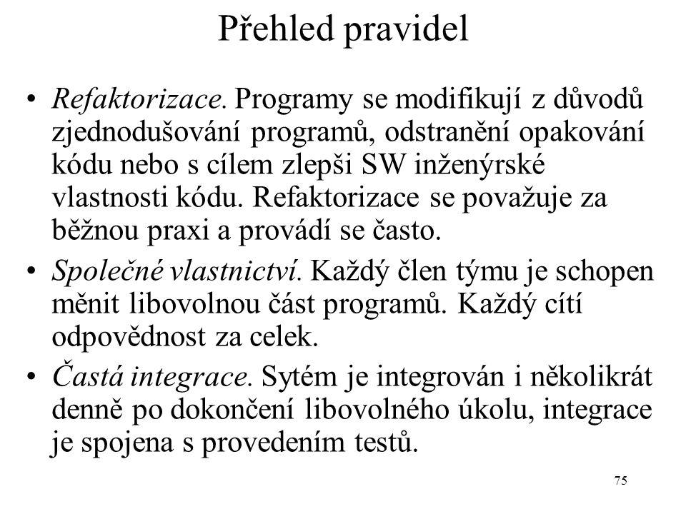 75 Přehled pravidel Refaktorizace. Programy se modifikují z důvodů zjednodušování programů, odstranění opakování kódu nebo s cílem zlepši SW inženýrsk