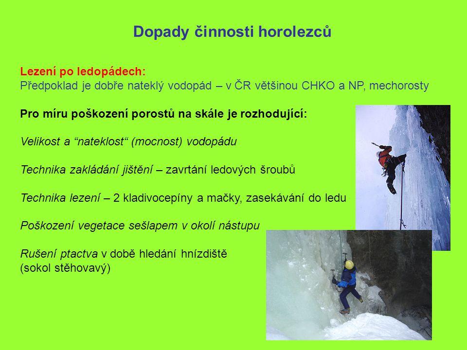 Dopady činnosti horolezců Lezení po ledopádech: Předpoklad je dobře nateklý vodopád – v ČR většinou CHKO a NP, mechorosty Pro míru poškození porostů n