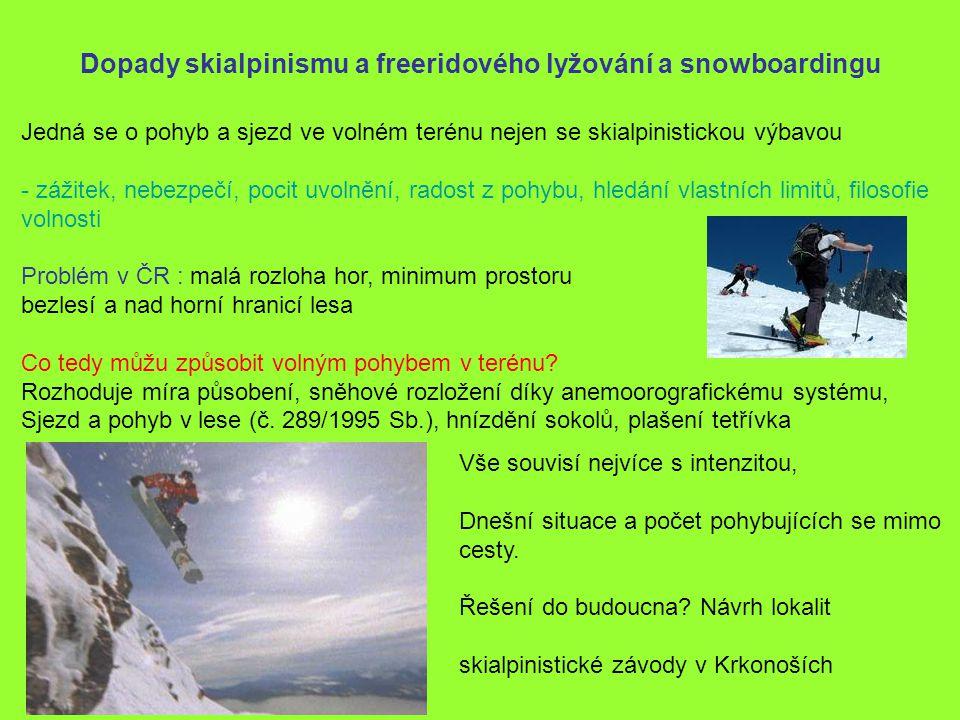 Dopady skialpinismu a freeridového lyžování a snowboardingu Jedná se o pohyb a sjezd ve volném terénu nejen se skialpinistickou výbavou - zážitek, neb