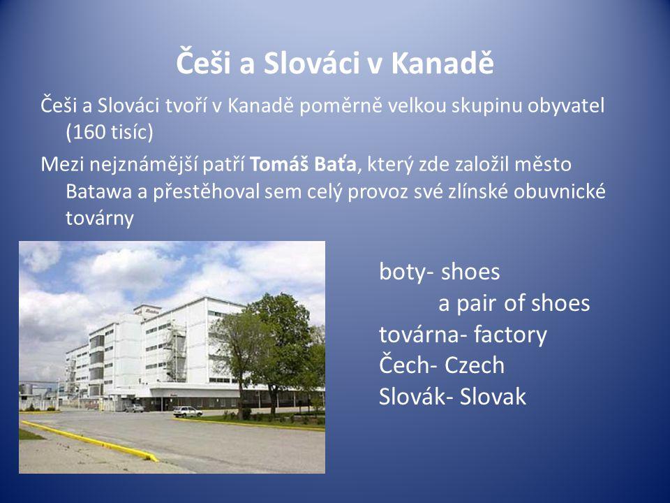 Češi a Slováci v Kanadě Češi a Slováci tvoří v Kanadě poměrně velkou skupinu obyvatel (160 tisíc) Mezi nejznámější patří Tomáš Baťa, který zde založil
