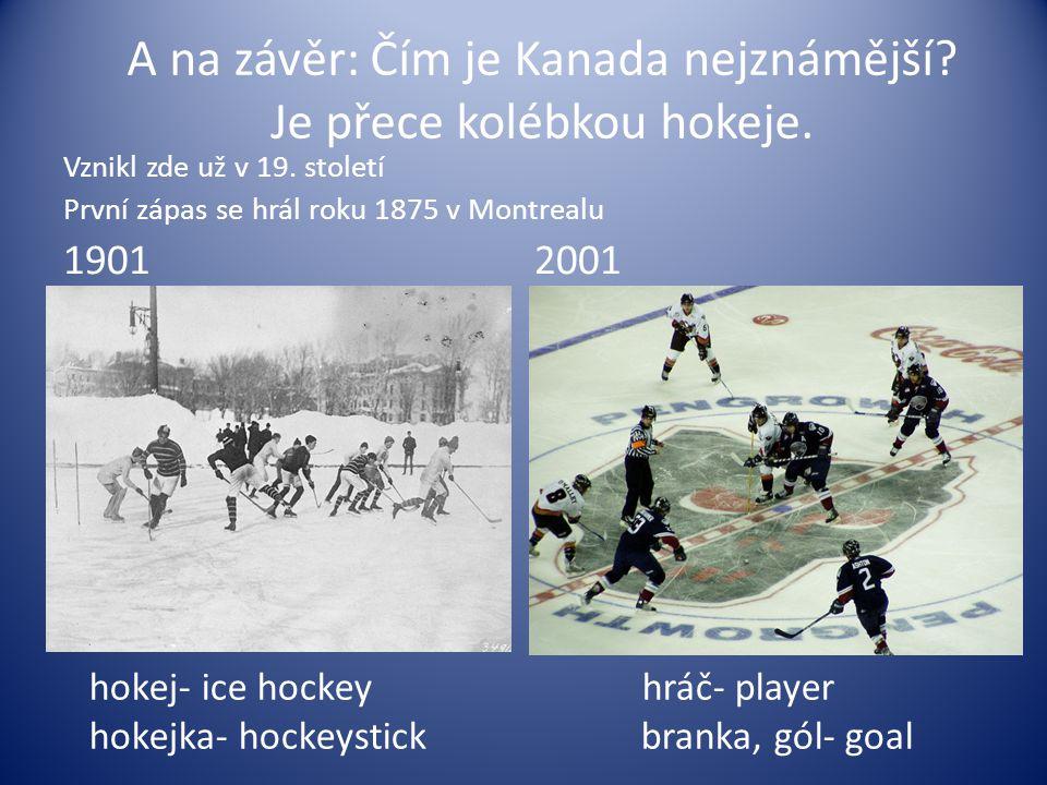A na závěr: Čím je Kanada nejznámější? Je přece kolébkou hokeje. Vznikl zde už v 19. století První zápas se hrál roku 1875 v Montrealu 1901 2001 hokej