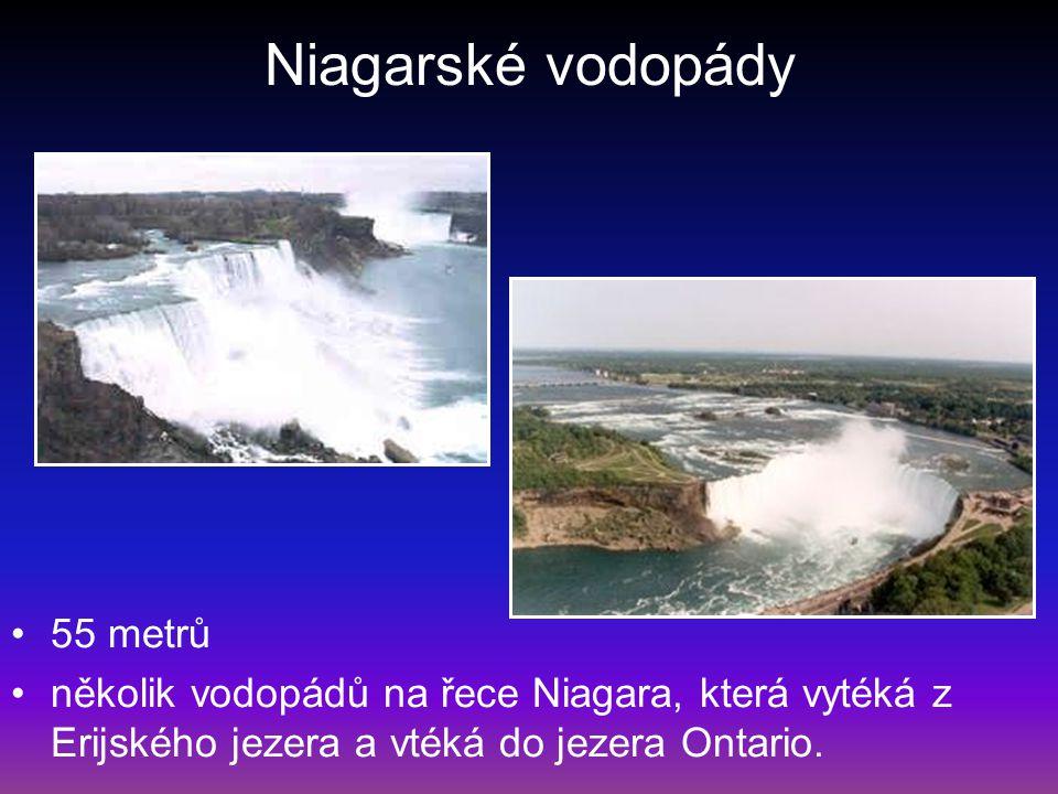 Niagarské vodopády 55 metrů několik vodopádů na řece Niagara, která vytéká z Erijského jezera a vtéká do jezera Ontario.