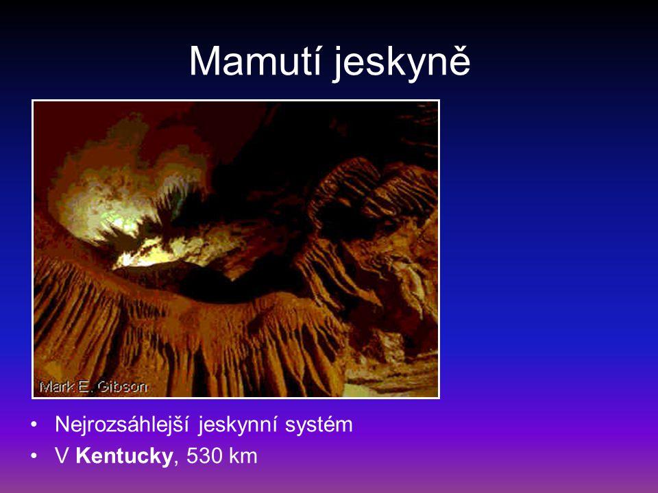 Mamutí jeskyně Nejrozsáhlejší jeskynní systém V Kentucky, 530 km