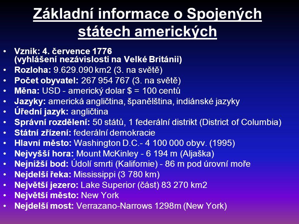 Základní informace o Spojených státech amerických Vznik: 4. července 1776 (vyhlášení nezávislosti na Velké Británii) Rozloha: 9.629.090 km2 (3. na svě