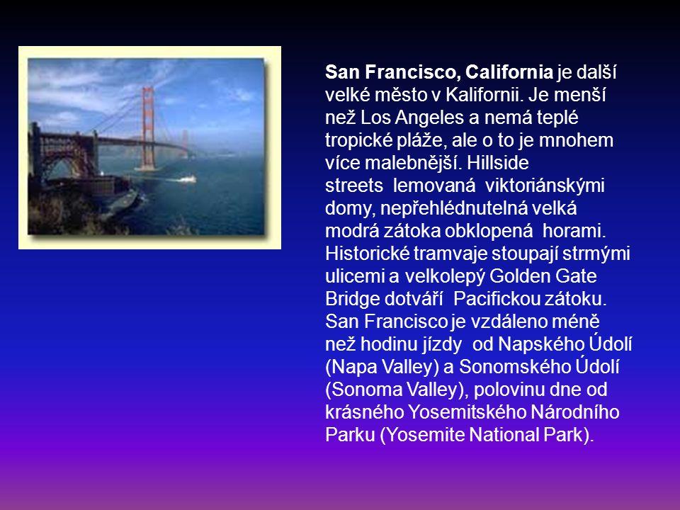 San Francisco, California je další velké město v Kalifornii. Je menší než Los Angeles a nemá teplé tropické pláže, ale o to je mnohem více malebnější.