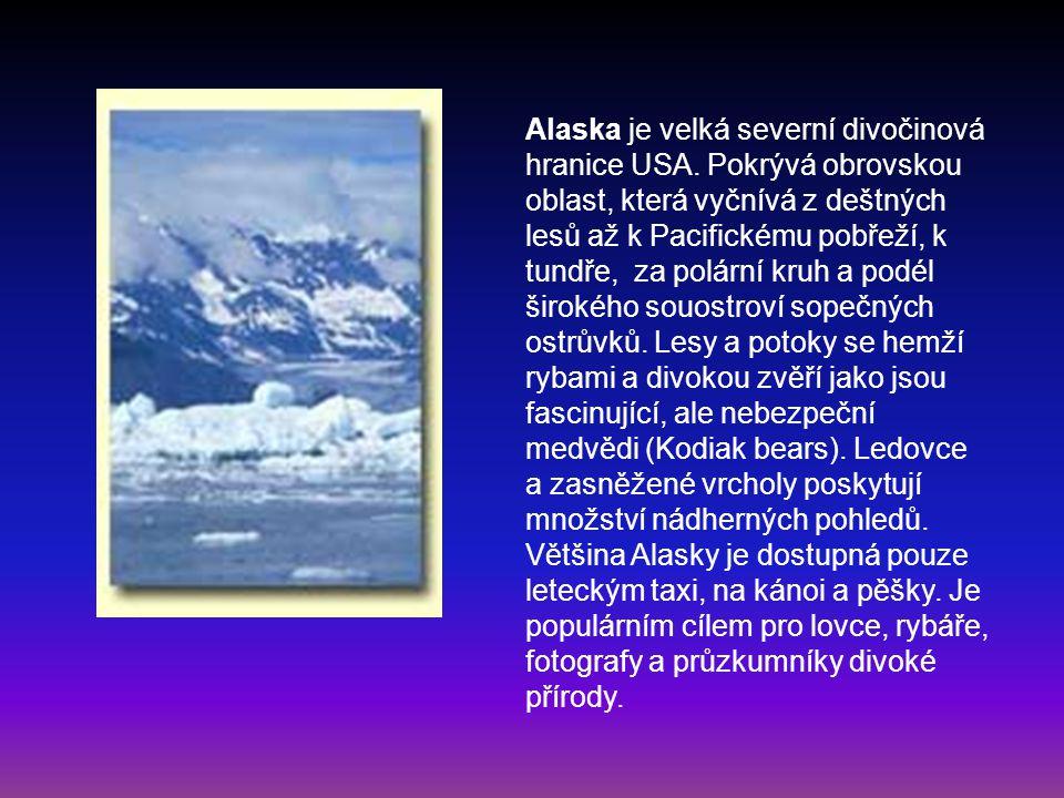 Alaska je velká severní divočinová hranice USA. Pokrývá obrovskou oblast, která vyčnívá z deštných lesů až k Pacifickému pobřeží, k tundře, za polární