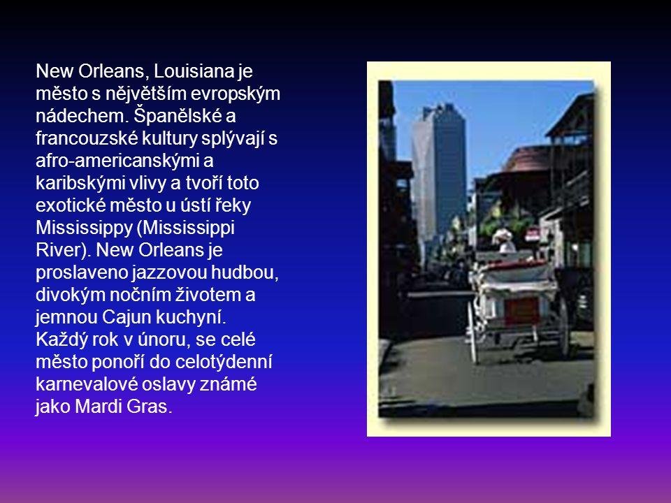 New Orleans, Louisiana je město s nějvětším evropským nádechem. Španělské a francouzské kultury splývají s afro-americanskými a karibskými vlivy a tvo