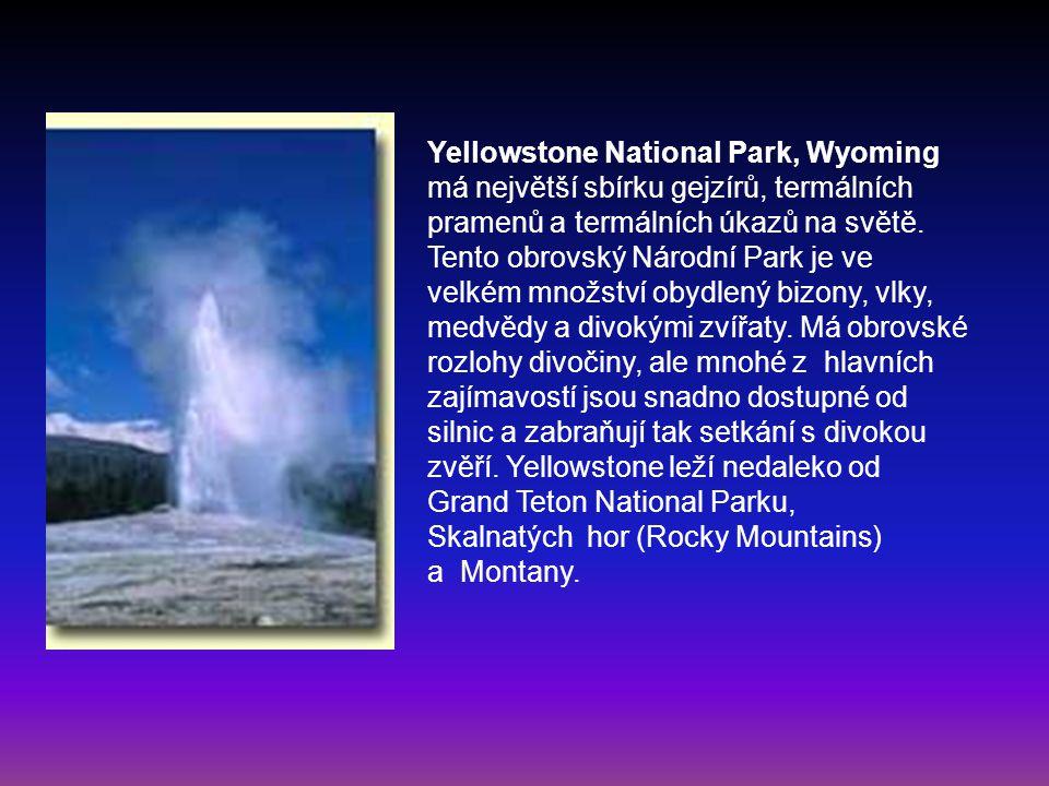 Yellowstone National Park, Wyoming má největší sbírku gejzírů, termálních pramenů a termálních úkazů na světě. Tento obrovský Národní Park je ve velké