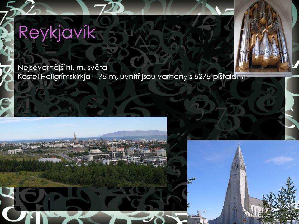 Reykjavík Nejsevernější hl. m. světa Kostel Hallgrímskirkja – 75 m, uvnitř jsou varhany s 5275 píšťalami