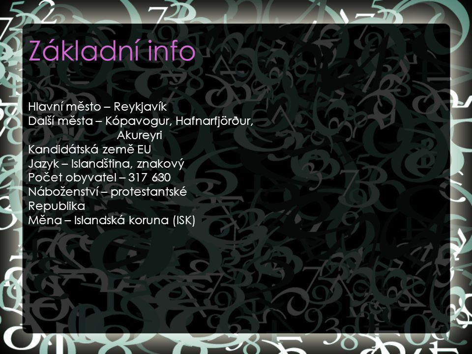 Základní info Hlavní město – Reykjavík Další města – Kópavogur, Hafnarfjörður, Akureyri Kandidátská země EU Jazyk – Islandština, znakový Počet obyvate
