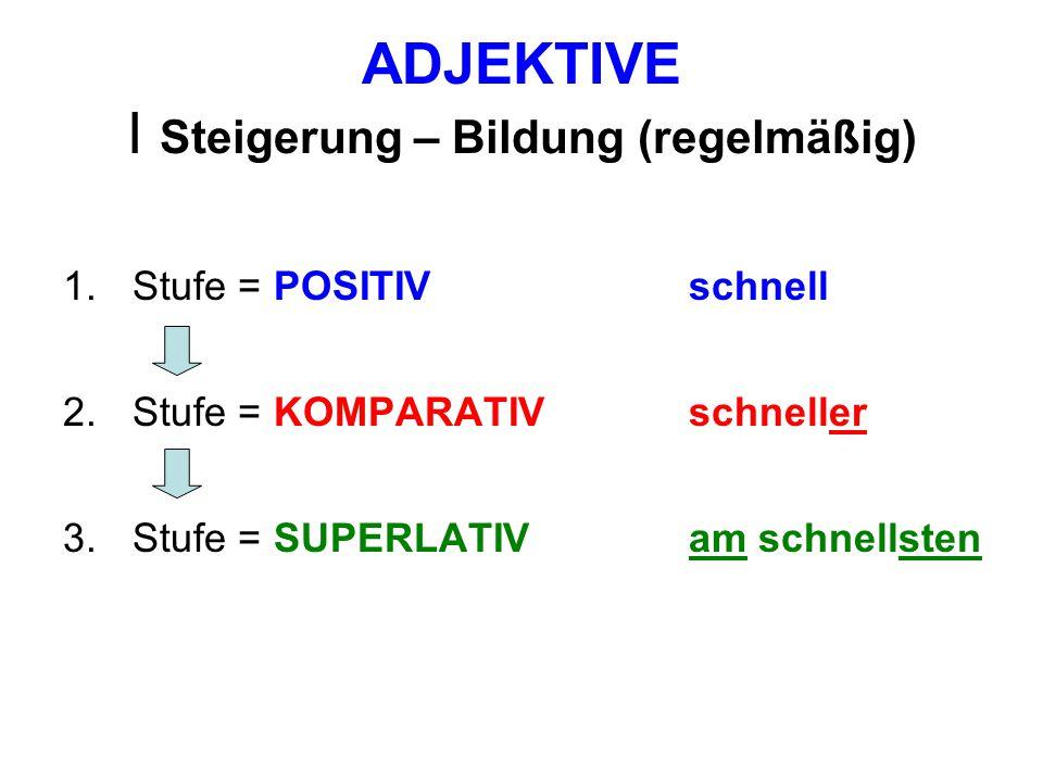 ADJEKTIVE I Steigerung Regel 1: Superlativ a) Dieses Autoist am schnellsten.