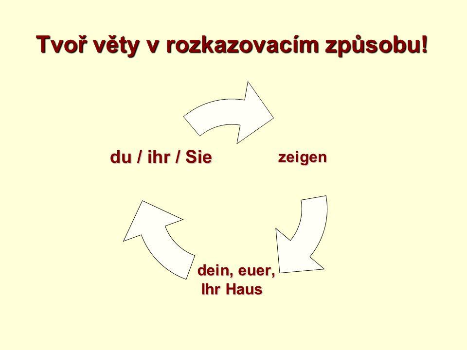 Imperativ – silná slovesa Infinitiv Oznamova cí způsob du – Form ihr - Form Sie - Form sprechen du sprichst sprich.