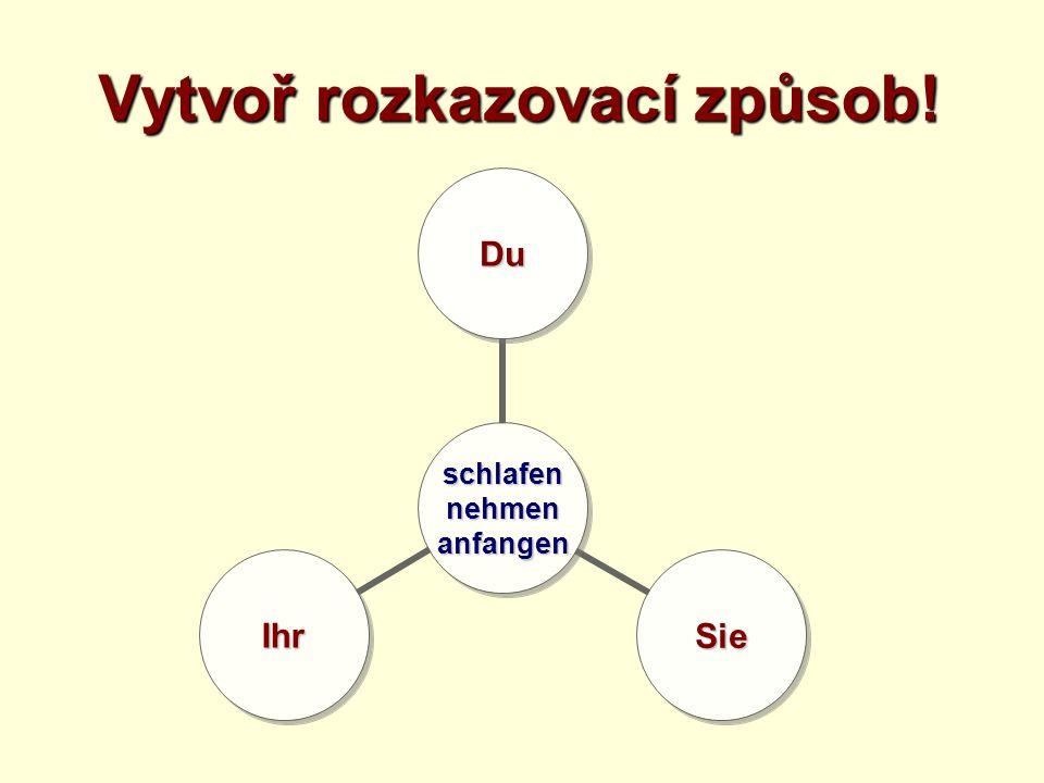Tvoř věty v rozkazovacím způsobu! sprechen langsam langsam du / ihr / Sie