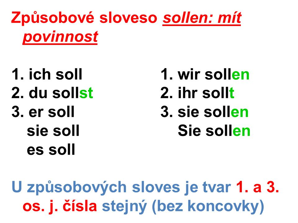 Rámcová konstrukce: tvar způsobového slovesa + infinitiv na konci věty Stefan soll seinem Vater helfen.