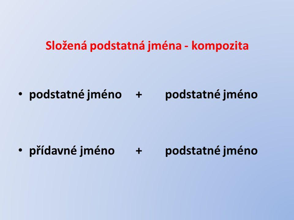 Složená podstatná jména - kompozita podstatné jméno+podstatné jméno přídavné jméno+podstatné jméno