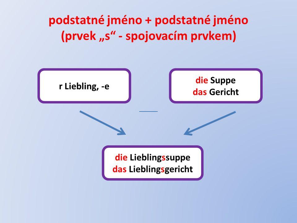 """podstatné jméno + podstatné jméno (prvek """"s - spojovacím prvkem) r Liebling, -e die Suppe das Gericht die Lieblingssuppe das Lieblingsgericht"""