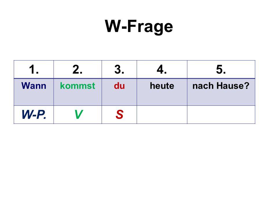 Ja/Nein-Frage 1.2.3.4.5. Kommstduheutefrühernach Hause? VS