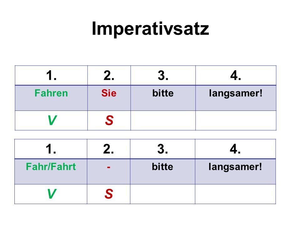 Imperativsatz 1.2.3.4. FahrenSiebittelangsamer! VS 1.2.3.4. Fahr/Fahrt-bittelangsamer! VS