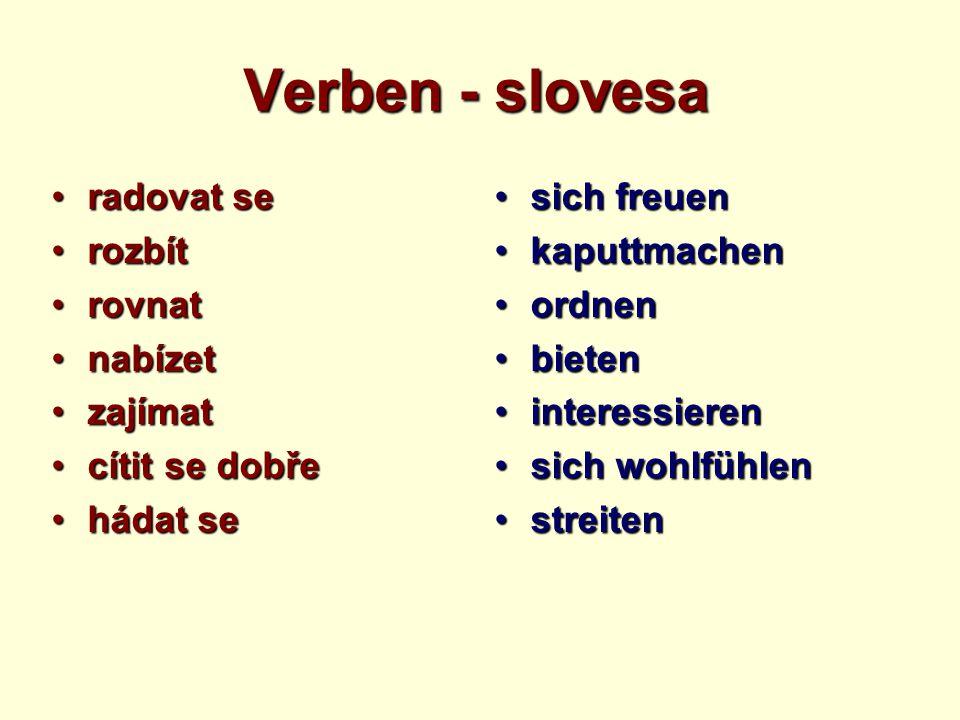Verben - slovesa radovat seradovat se rozbítrozbít rovnatrovnat nabízetnabízet zajímatzajímat cítit se dobřecítit se dobře hádat sehádat se sich freue
