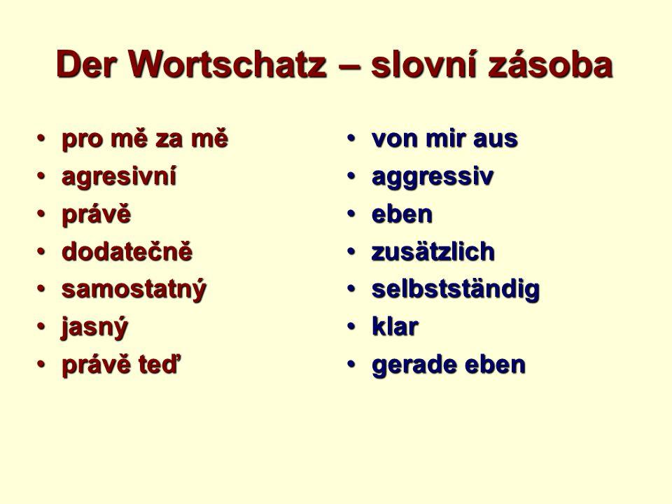 Der Wortschatz – slovní zásoba pro mě za měpro mě za mě agresivníagresivní právěprávě dodatečnědodatečně samostatnýsamostatný jasnýjasný právě teďpráv