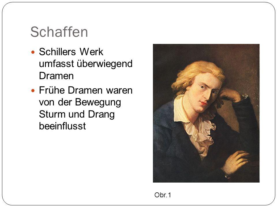 """Schaffen Sein erstes Drama """"Die Räuber (1781) schildert den Lebensweg von Karl Moor, der durch die Intrigen seines Bruders die Liebe des Vaters, seinen Besitz und seine Geliebte verliert."""