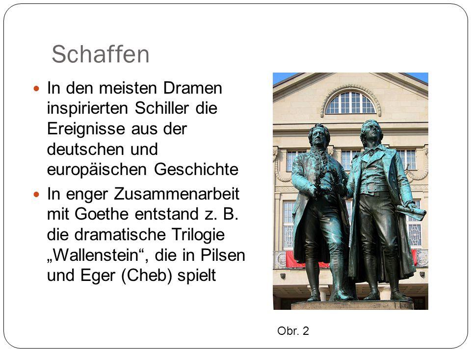 """Schaffen Schiller schrieb zahlreiche Gedichte, von denen Balladen und philosophische Lyrik am bedeutendsten sind Sein Gedicht """"An die Freude , von Ludwig van Beethoven als """"Ode an die Freude vertont, drückt die Sehnsucht nach Freundschaft und Frieden aus Obr.3"""