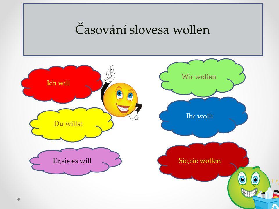 Časování slovesa wollen Ich will Du willst Er,sie es will Wir wollen Ihr wollt Sie,sie wollen