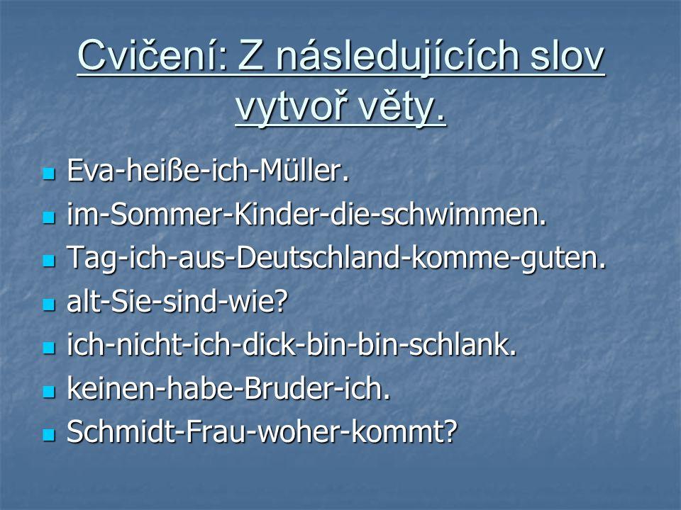 Cvičení: Z následujících slov vytvoř věty.Eva-heiße-ich-Müller.
