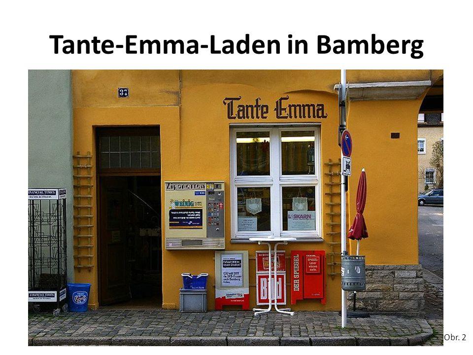 Tante-Emma-Laden Tante-Emma-Laden ist eine in Deutschland und der Schweiz gebräuchliche umgangssprachliche Bezeichnung für ein kleines Einzelhandelsgeschäft, das Lebensmittel und weitere Artikel des täglichen Bedarfs anbietet.