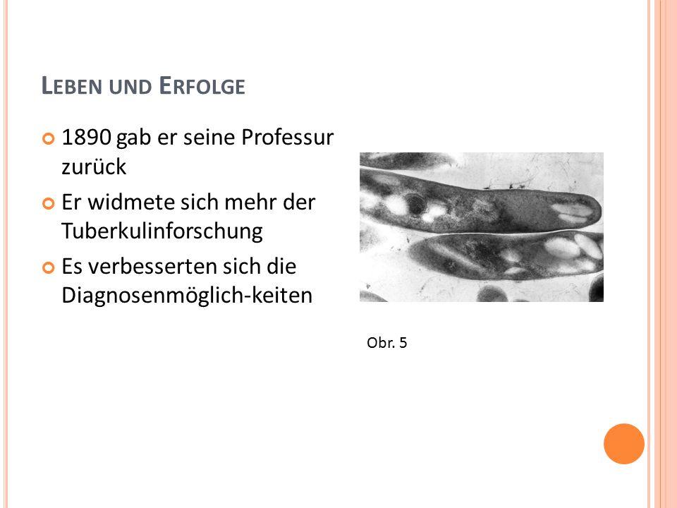 L EBEN UND E RFOLGE 1890 gab er seine Professur zurück Er widmete sich mehr der Tuberkulinforschung Es verbesserten sich die Diagnosenmöglich-keiten Obr.