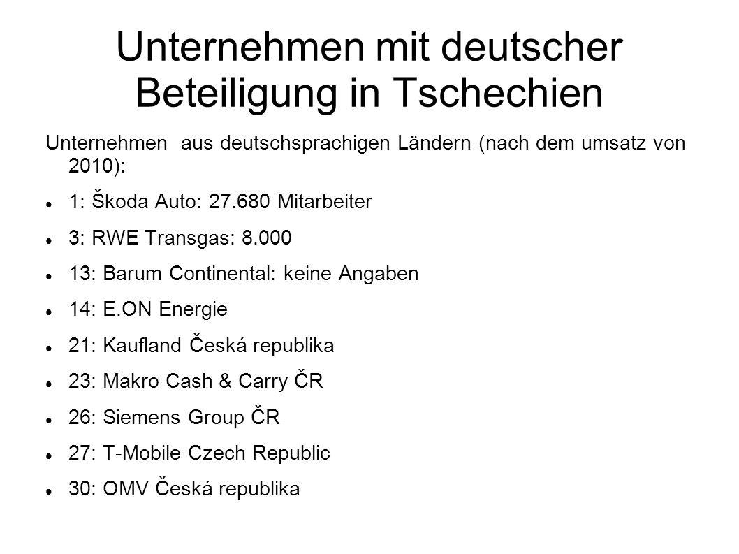 Unternehmen mit deutscher Beteiligung in Tschechien Unternehmen aus deutschsprachigen Ländern (nach dem umsatz von 2010): 1: Škoda Auto: 27.680 Mitarb
