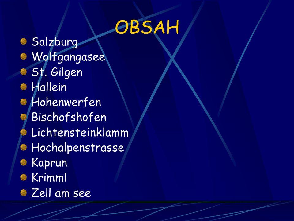 OBSAH Salzburg Wolfgangasee St. Gilgen Hallein Hohenwerfen Bischofshofen Lichtensteinklamm Hochalpenstrasse Kaprun Krimml Zell am see