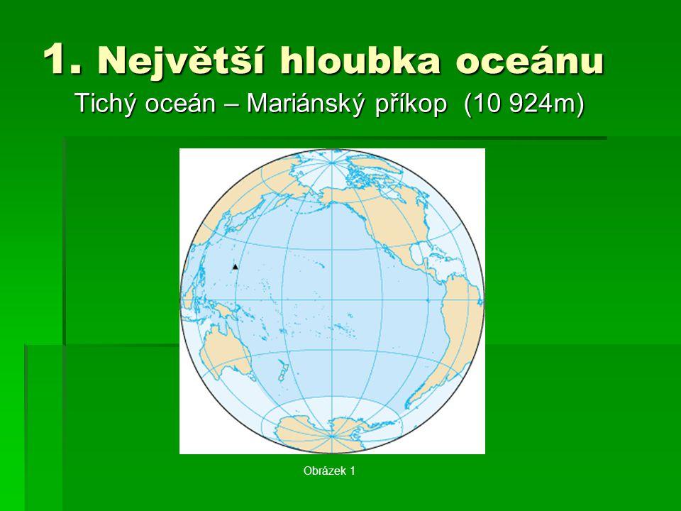 1. Největší hloubka oceánu Tichý oceán – Mariánský příkop (10 924m) Obrázek 1