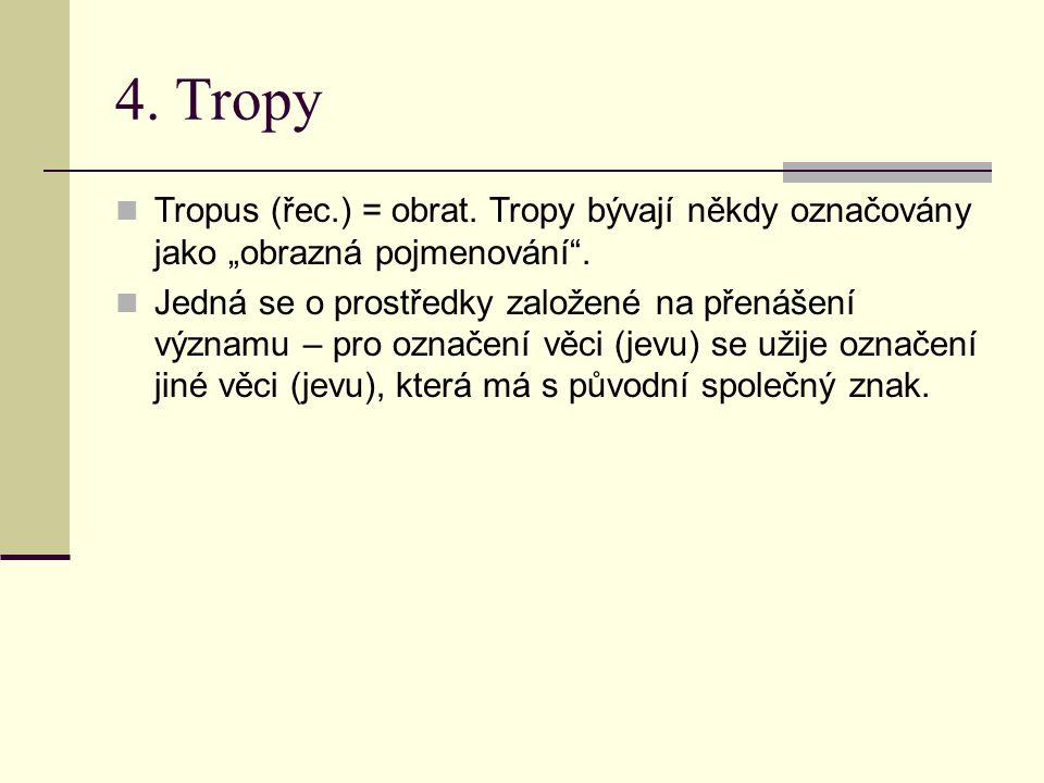 """4. Tropy Tropus (řec.) = obrat. Tropy bývají někdy označovány jako """"obrazná pojmenování"""". Jedná se o prostředky založené na přenášení významu – pro oz"""