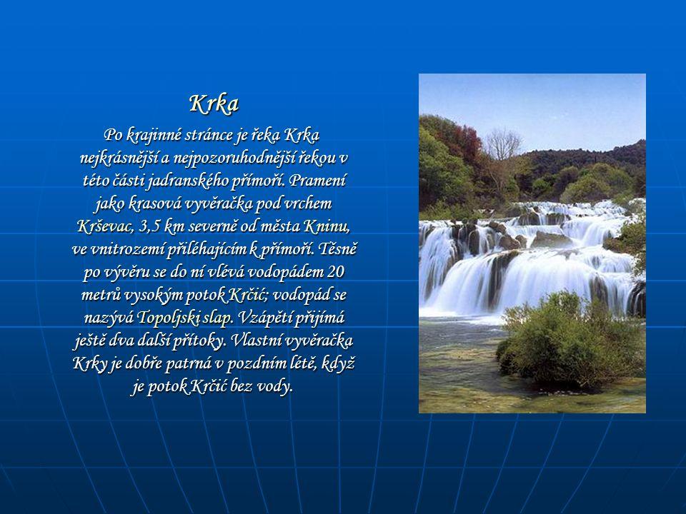 Krka Krka Po krajinné stránce je řeka Krka nejkrásnější a nejpozoruhodnější řekou v této části jadranského přímoří. Pramení jako krasová vyvěračka pod