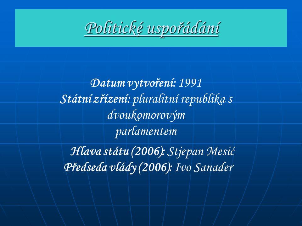 Politické uspořádání Datum vytvoření: 1991 Státní zřízení: pluralitní republika s dvoukomorovým parlamentem Hlava státu (2006): Stjepan Mesić Předseda