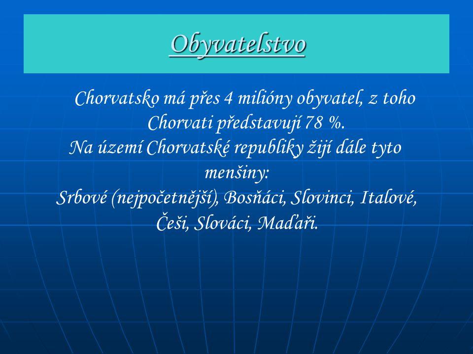 Obyvatelstvo Chorvatsko má přes 4 milióny obyvatel, z toho Chorvati představují 78 %. Na území Chorvatské republiky žijí dále tyto menšiny: Srbové (ne