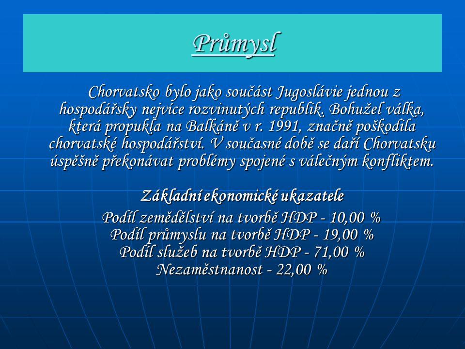 Průmysl Chorvatsko bylo jako součást Jugoslávie jednou z hospodářsky nejvíce rozvinutých republik. Bohužel válka, která propukla na Balkáně v r. 1991,