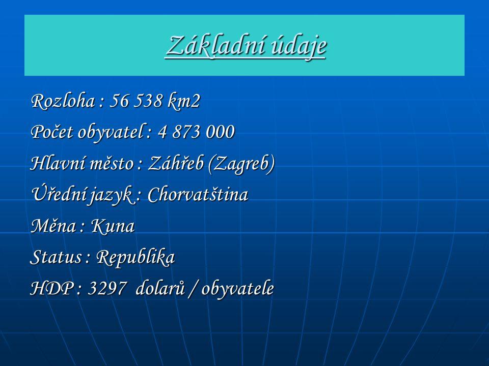 Základní údaje Rozloha : 56 538 km2 Počet obyvatel : 4 873 000 Hlavní město : Záhřeb (Zagreb) Úřední jazyk : Chorvatština Měna : Kuna Status : Republi