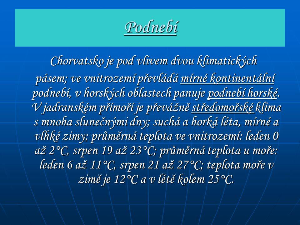 Podnebí Chorvatsko je pod vlivem dvou klimatických Chorvatsko je pod vlivem dvou klimatických pásem; ve vnitrozemí převládá mírné kontinentální podneb