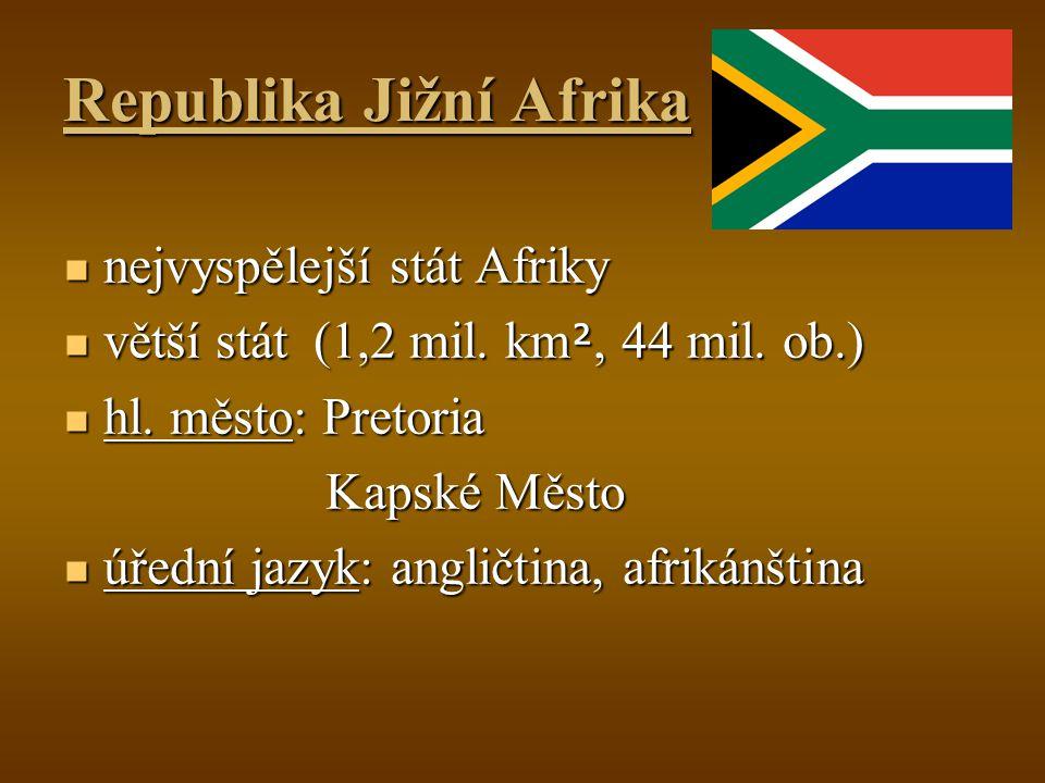 Republika Jižní Afrika nejvyspělejší stát Afriky nejvyspělejší stát Afriky větší stát (1,2 mil. km ², 44 mil. ob.) větší stát (1,2 mil. km ², 44 mil.