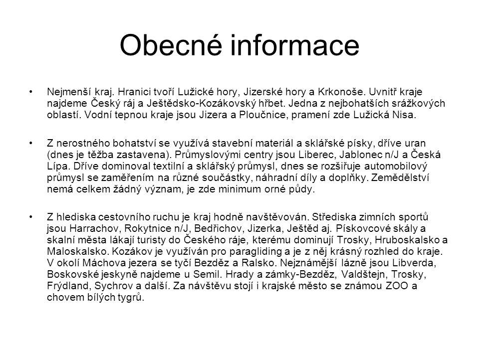 Obecné informace Nejmenší kraj. Hranici tvoří Lužické hory, Jizerské hory a Krkonoše.