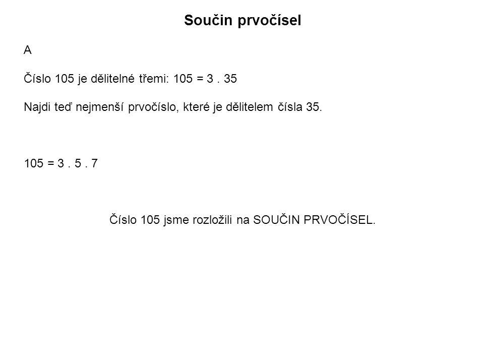 Součin prvočísel A Číslo 105 je dělitelné třemi: 105 = 3.