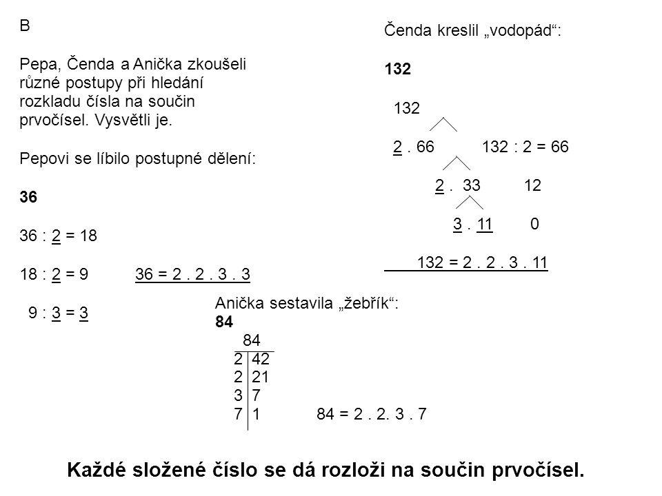 B Pepa, Čenda a Anička zkoušeli různé postupy při hledání rozkladu čísla na součin prvočísel.