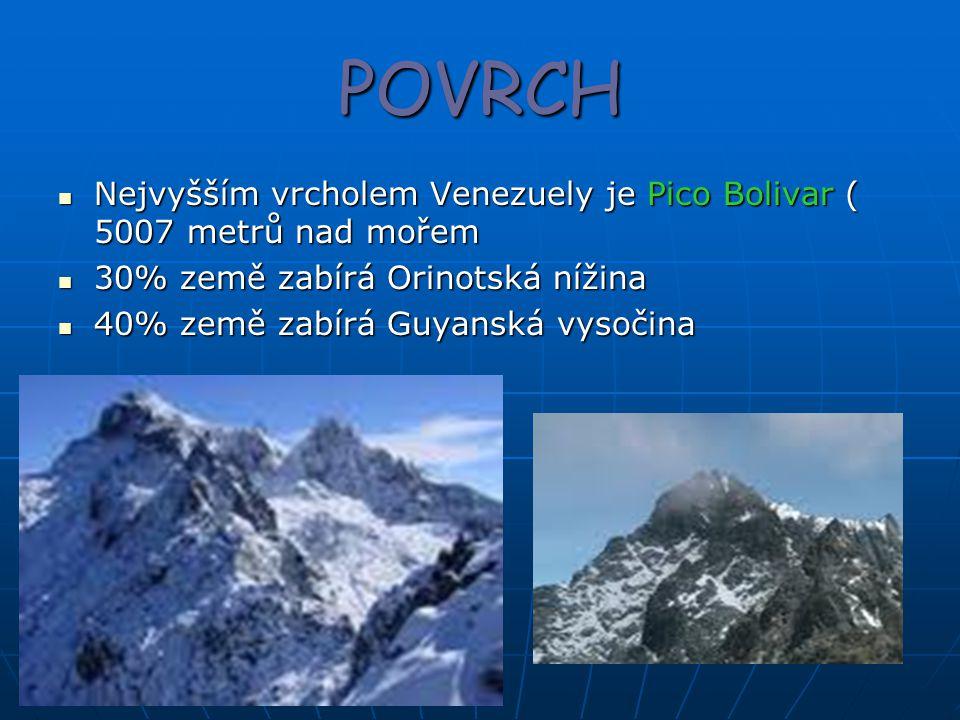 POVRCH Nejvyšším vrcholem Venezuely je Pico Bolivar ( 5007 metrů nad mořem Nejvyšším vrcholem Venezuely je Pico Bolivar ( 5007 metrů nad mořem 30% země zabírá Orinotská nížina 30% země zabírá Orinotská nížina 40% země zabírá Guyanská vysočina 40% země zabírá Guyanská vysočina