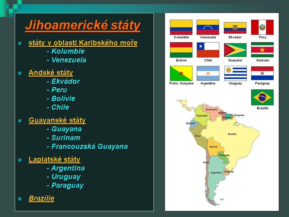 Státy v oblasti Karibského moře Venezuela hlavní město: Caracas hlavní město: Caracas stát se zaměřením na těžbu nerostných surovin stát se zaměřením na těžbu nerostných surovin - ropa, železná ruda, bauxit, zlato, zemní plyn prezidentem je: velmi kontroverzní Hugo Chávez prezidentem je: velmi kontroverzní Hugo Chávez zemědělství: zemědělství: - málo zemědělské půdy, káva, tabák, skot Kolumbie hlavní město: Bogota hlavní město: Bogota Kolumbie je zaměřená především na plantážní zemědělství Kolumbie je zaměřená především na plantážní zemědělství - káva, banány, kakao, tabák, skot nelegální pěstování drog (koka 75%, opium) nelegální pěstování drog (koka 75%, opium) těžba: těžba: - ropa, drahokamy (smaragdy), zemní plyn, železná ruda ZŠ, Týn nad Vltavou, Malá Strana